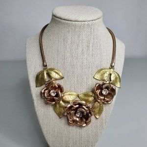 Rose Necklace Flower Copper Gold Tone Mixed Metal